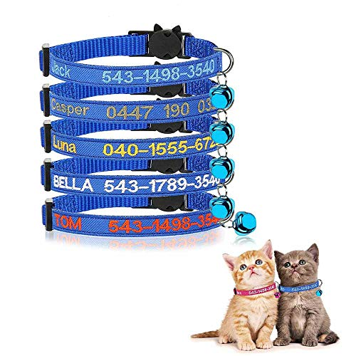 Brillianne Personalisierte Katzenhalsbänder mit Glocke, benutzerdefinierte Sicherheitsschnalle für Katzenhalsbänder, gestickter ID-Name am Kätzchenhalsband mit Glocke (Blue)