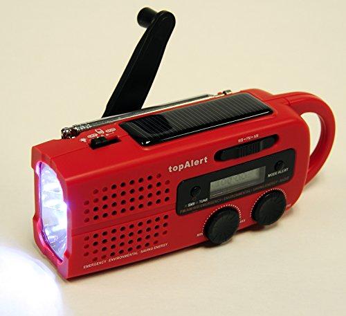 topAlert MD-019 Emergency AM/FM/WB/NOAA Alert LCD Solar Hand Crank Weather Alert Radio