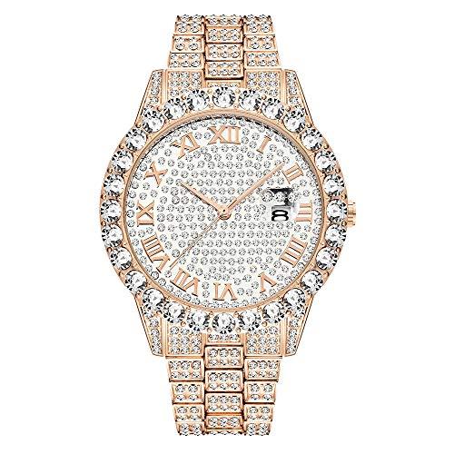 Bling Bling Iced Out Orologio di Diamanti Uomo Hip Hop, Rotonda Analogico Quartz Luxury Strass Cristallo Tutti gli orologi di diamanti Argento/Oro/Oro rosa
