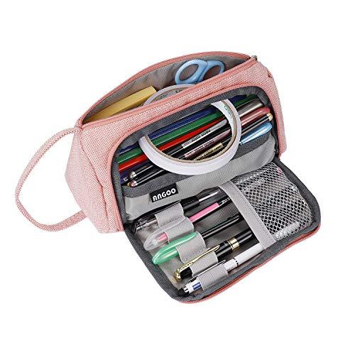 Trousse à Crayons de Grande Capacité Crayon Case Pouch Multifonctionnel Toile Crayon Sac Papeterie Organisateur Durable Trousse Pochette Cosmétique pour Fille Ado Femme (Rose)