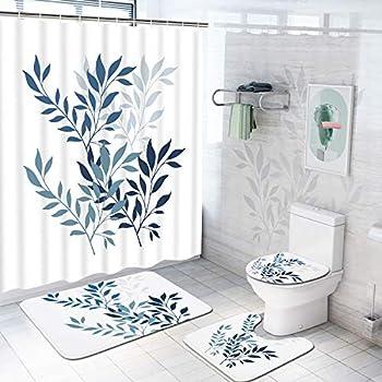 4-Piece Krelymics Blue Leaves Shower Curtain Set