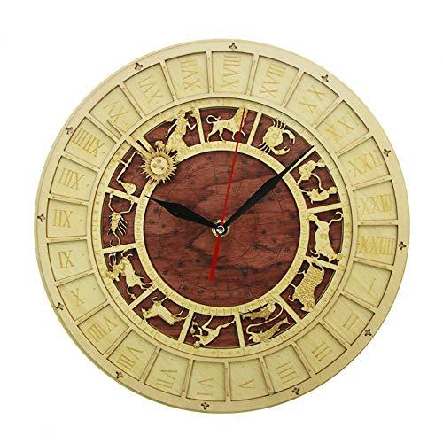 JJYM Houten klok rustieke kiken wandklok Astrologie wetenschap sterrenbeeld muurkunst vintage astronomische sterrenbeelden klok