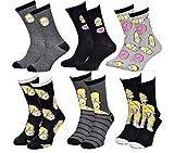 Disney Socks And Underwear Herren-Socken Simpsons aus Baumwolle, verschiedene Modelle mit Fotos je nach Verfügbarkeit, mehrfarbig Gr. One size, 6 Paar Homer.