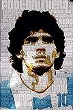 Tela De Lienzo 50x70cm Sin Marco Diego Maradona Argentina fútbol estrella cartel arte luz decoración del hogar