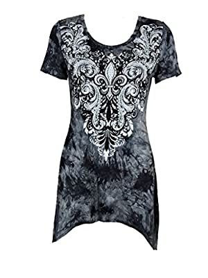 Vocal Women Shark Bite Tunic Shirt Floral Fleur Scroll Rhinestone Cowgirl Short Slvs