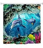 A.Monamour Duschvorhang 3D Unterwasserwelt Delphin Fisch Korallenriff Marine Life Blau Ozean Wasserdicht Lange Verdicken Stoff Polyester Duschvorhang Set Mit Haken, Kein Liner Benötigt 180x200 cm