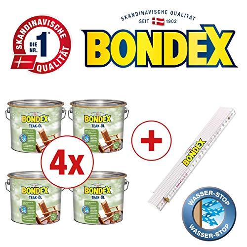 Bondex BigPack XL 4x Teak Öl Farblos 2,50l 330061 + 1 x Bondex Zollstock