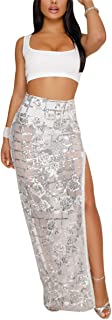 Women's Sexy 2 Piece Outfits Mesh See Through Sequin Side Slit Maxi Skirt Party Club Long Dress