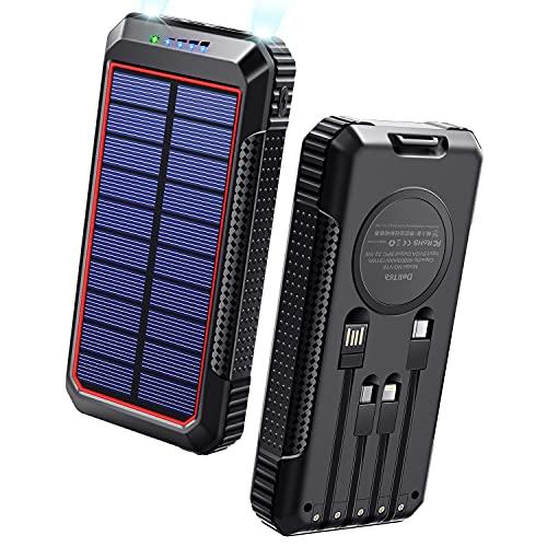 【40800mAh & Qiワイヤレス充電 & PD18W対応】 ソーラーモバイルバッテリー 大容量 ソーラーチャージャー 2021年最新版 急速充電 SCP22.5W対応 PD18W入出力兼用Type-Cポート ソーラー充電器 USB-A+Micro USB+Type-Cなどに適合する4本ケーブル内蔵 4way蓄電 ソーラー モバイルバッテリー 2個LEDライト 防水 耐衝撃 PSE認証済 スマホ充電器 アウトドア/災害用 防災グッズ 各種スマホ/タブレット対応 DeliToo (Red)