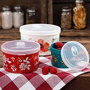 The Pioneer Woman Round Food Storage with Vent Container Set, Set of 3 in Bloom Dot