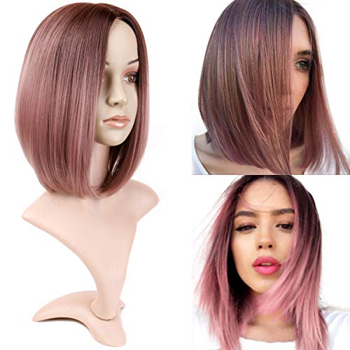 BECUS 12 inches Ombre Bob Wigs, Dark Rost Shoulder Length Silky Straight Wig Heat Resistant Kanekalon Synthetic Fiber Wigs for Women with Free Wig Cap