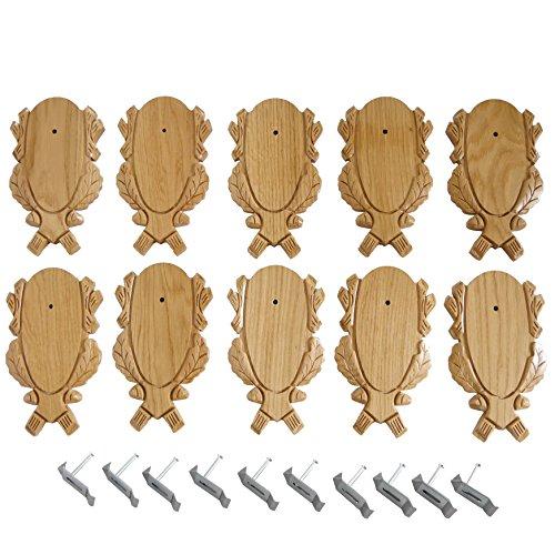 GTK - Geweihe & Trophäen KRUMHOLZ 10 Stück Geschnitzte Rehbock Trophäenschilder hell + 10 Stück Gehörnklammern