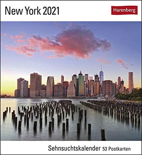 New York Sehnsuchtskalender 2021 - Postkartenkalender mit Wochenkalendarium - 53 perforierte Postkarten zum Heraustrennen - zum Aufstellen oder Aufhängen - Format 16 x 17,5 cm
