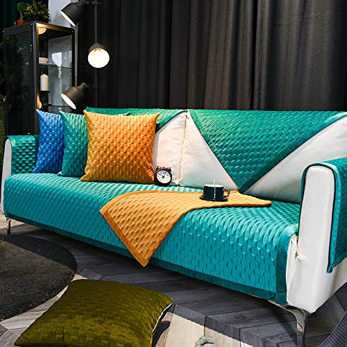 YUTJK Multisize Sofa Cover,Toalla de cojin de sofa de Felpa Ligero de Color solido nordico,Funda de sofa Antideslizante de Tela de Alta Gama para Sala de Estar-Azul_90x180cm