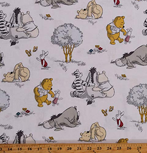 Cotton Pooh Bear Winnie The Pooh Piglet Tigger Eeyore Hundred Acre Wood Kids A Togetherish Sort of Day Cotton Fabric Print by The Yard (D785.41)