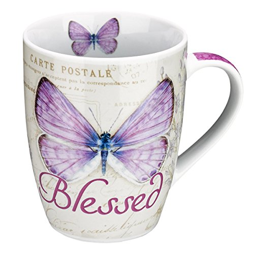 Blessed Butterfly Mug – Botanic Purple Butterfly Coffee Mug w/Jeremiah 17:7, Bible Verse Mug for Women and Men – Inspirational Coffee Cup and Christian Gifts (12-ounce Ceramic Cup)