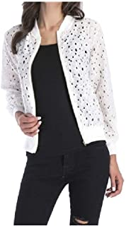 MogogNWomen Solid Lace Trim Hollow Out Zipper Long Sleeve Slouchy Winter Jacket
