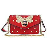 Beatfull Fashion Handbags for Women, Pu Leather Shoulder Bags Cross body Bag with Bee (red)