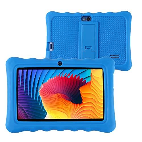 LAMZIEN P2 Tablet 7 Pollici Android 10 IPS HD Touch Screen 16GB ROM (TF 128GB) Quad-Core WiFi GPS Bluetooth Dual-Camara Google Play GMS Certified, con Custodia, Blu