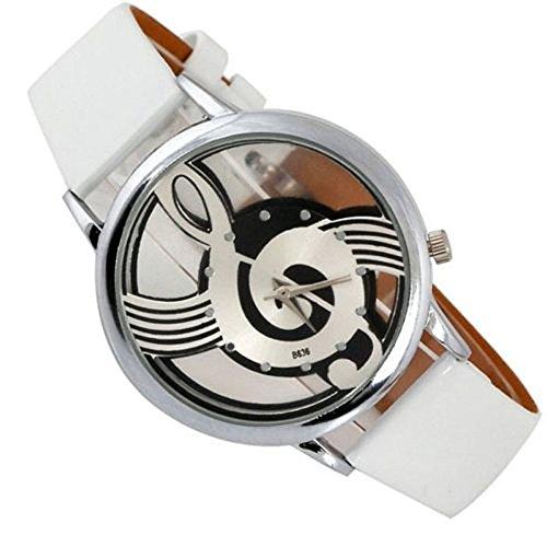 Reloj de pulsera Ssitg para mujer, con clave de sol y pentagrama, de piel