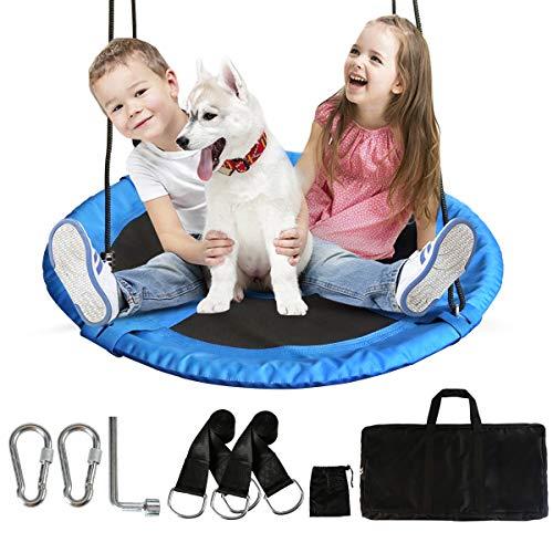 HAPPYMATY Nestschaukel 100cm runde Hängeschaukel bis 200kg mit allem Zubehör Schaukel Befestigung Gartenschaukel für Kinder und Erwachsene höheverstellbar