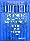 Schmetz, 10 aghi con testa rotonda per macchina da cucire, sistema 134(R), industriali, spessore 70 -