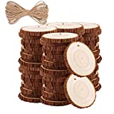 Natural Wood Slices TICIOSH 50 Pcs 2.4-2.8 inches Craft Unfinished Wood kit Predrilled with Hole Wooden Circles for DIY Crafts Wedding Decorations Christmas Ornaments Arts Wood Slices