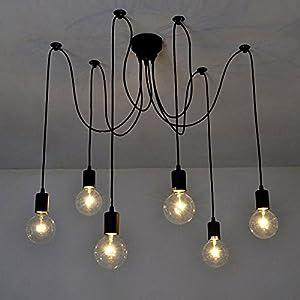 Lixada Lámpara clásica techo antigua con luz de araña ajustable (Cada uno con Wire 1.7m) Negro