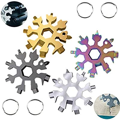 18-in-1 Stainless Steel Snowflake Keychain Multi-Tool Portable Keychain Screwdriver Bottle Opener Tool for Outdoor Camping Gift for Valentine's Day, Birthday, and Happy New Year (multi 4 pack)