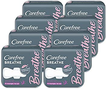 96-Count Carefree Breathe Ultra Thin Overnight Pads with Wings