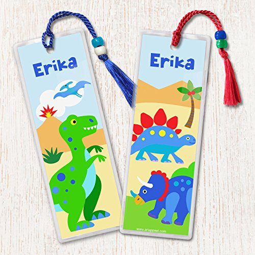 Olive Kids Dinosaur Land Personalized Bookmarks, Set of 2, by Art Appeel