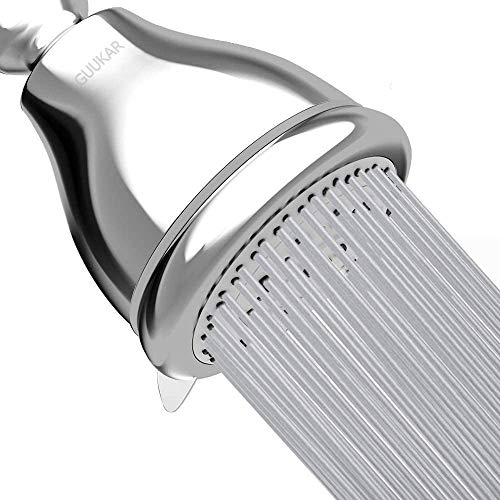 Guukar High Pressure Shower Head 3 Inch Anti-leak Anti-clog Fixed Showerhead with 5 Function Spray - Pressure Boosting for Low Water Pressure & Flow - Adjustable Swivel Metal Ball Joint (Chrome)