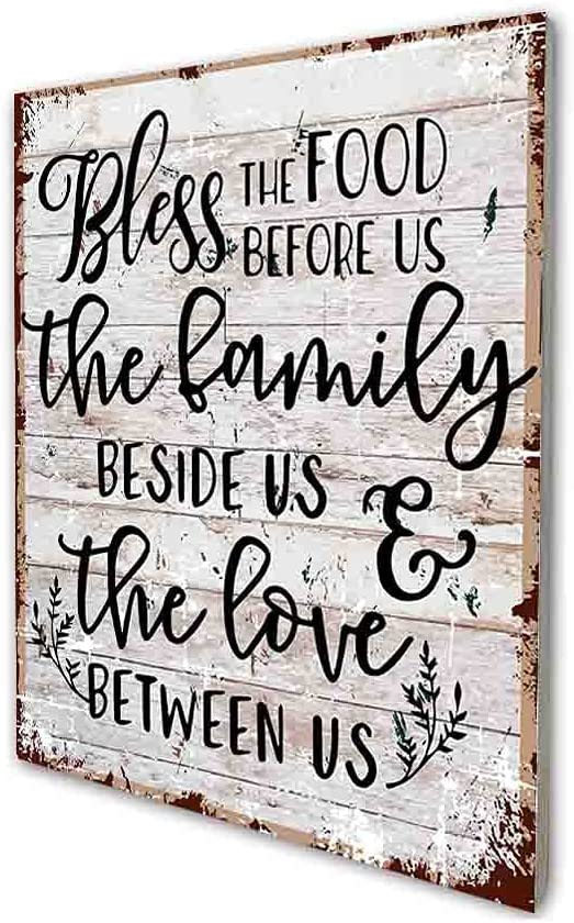 akeke Bless The Food Before us Sign, Inspirational Quote Retro Farmhouse Wood Wall Art Decor Gift Idea for Friend Family Office/Home Kitchen