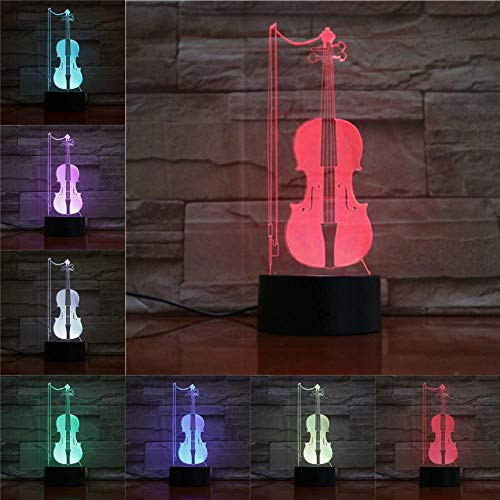 Only 1 Piece Table Light Violin 3D Lamp Remote Touch Night Light Kids Lover Gift Home Shop Celebration Decorate Lamps Sleepinglight
