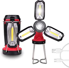 Multifunction Rechargeable COB Work Light LED Flashlight Camping Light 6 Lighting Modes Deformable Fancy Lighting with USB...