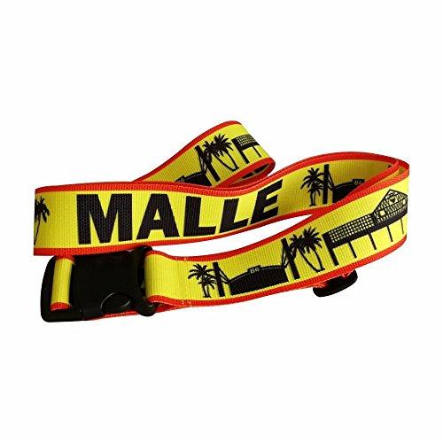 Mallorca Malle - Correa para Maleta/Correa de Equipaje/Cinta de Equipaje/Longitud: 2 m/Ancho: 5 cm - Maleta/Bailarina 6 / Vacaciones/diseño/Cerveza Real/Megapark/Balneario 6 / Camiseta/Camiseta