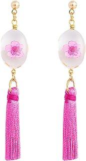 Muzhili3 - Pendientes de tuerca para mujer, diseño de flor, color rosa y rojo