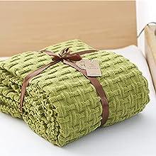 Zoomlie Mantas de punto dobles de color puro 100% acrílico cálidas mantas con diseño de doble cara 120 x 180 cm manta decorativa para sofá sofá sofá cama sillón cama (verde,1)