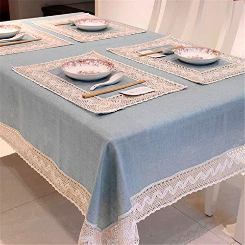 Simple Mantel Azul Lino Algodón Borde Encaje Rectangular