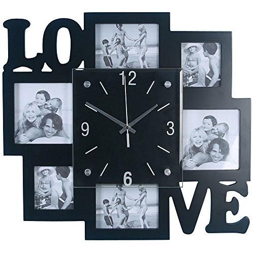BHP Foto Wand Uhr Analog Zeit Anzeige Silber schwarz Schriftzug Love Wohn Raum Bilder Deko B991742
