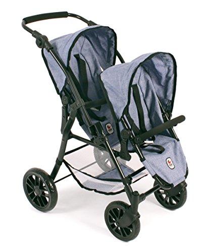 """Bayer Chic 2000 691 50 - Tandem-Buggy \""""Twinny\"""", Zwillingspuppenwagen für Puppen bis ca. 50 cm, Jeans Blue"""