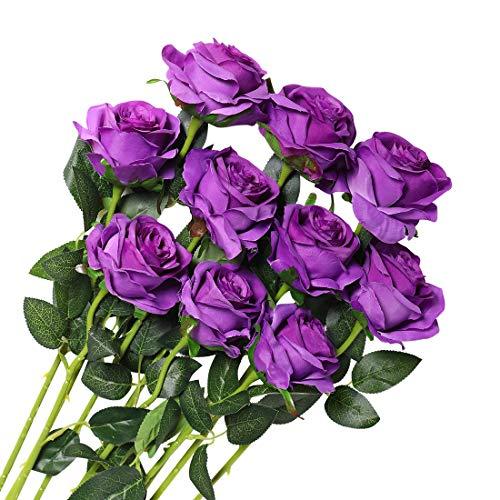 Veryhome 10 Piezas Artificial Seda Rosa Flores Falsas Ramos de Flores para La Decoración de La Boda Home Birthday Party Arrangment Jardín Decoración Violeta-1
