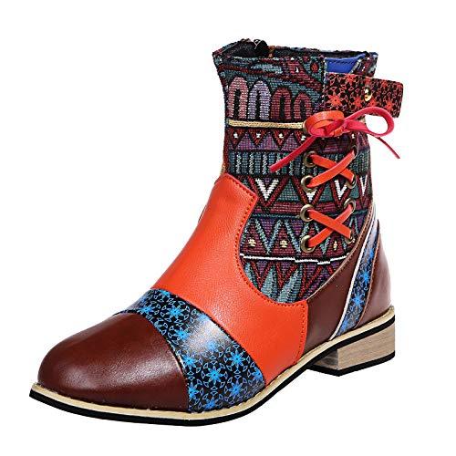 Stivali da Donna retrò di Grandi Dimensioni con Nodo a Fiocco, Stivali a Punta Invernali abbinati al Colore (38,Multicolore)