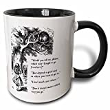 3dRose Which Way Ought I Go From Here Chesire Cat-Alice In Wonderland Quote Mug, 11 oz, Black
