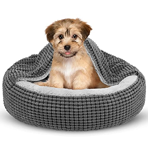 Siwa Mary Small Dog Bed with Attached Blanket, Cozy Donut Cuddler Anti-Anxiety Hooded Pet Beds Calming Cave Bed. Orthopedic Round Puppy Beds for Small Dogs or Cats Washable, Anti-Slip Bottom, 23inch