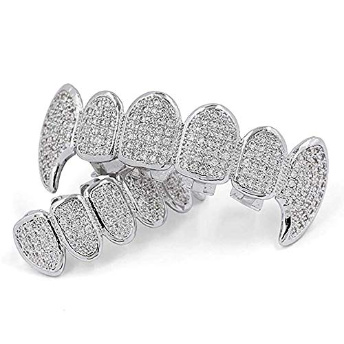18K White Gold Plated CZ Cluster Custom Slugs Top Bottom Fangs Vampire Grillz Mouth Teeth Grills Set - Grillz, Teeth Cap, Iced Out Grillz (Top & Bottom Set)
