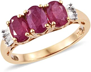 5a60cc1a363eb6 TJC 925 Sterling Silver 14ct Gold Plated African Ruby, White Diamond  Fashion Three Stone Ring