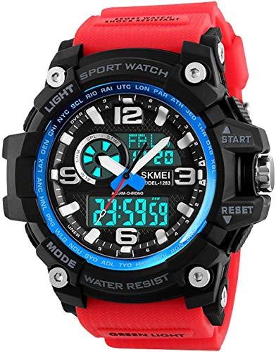 ビッグデュアルディスプレイにメンズデジタルアナログスポーツ腕時計ストップウォッチアラームをダイヤル防水軍アーミーウォッチ
