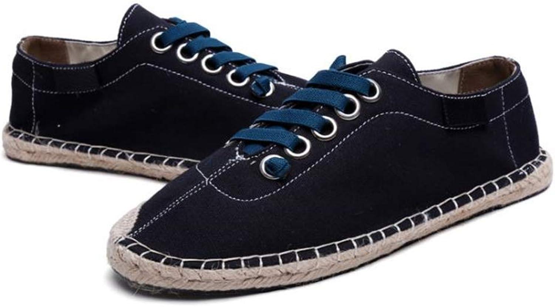 Fancyww shoes Unisex Linen Summer Espadrilles Flats Lace-up