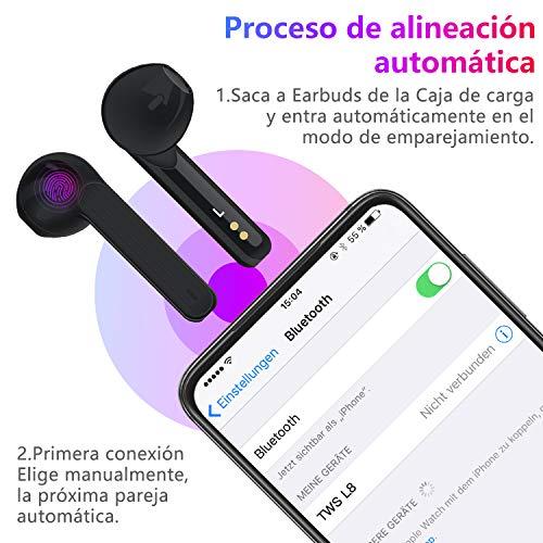Auriculares Bluetooth Soicear Auriculares Inalámbricos Bluetooth 5.0 Estéreo In Ear Auriculares Deporte,Reproducción de 25 Horas, Control Táctil para Xiaomi, Apple, Android miniatura